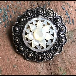 Jewelry - Jerusalem Silver Carved Mother of Pearl Brooch